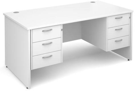 GM Panel Desk With Three Drawer Pedestals White