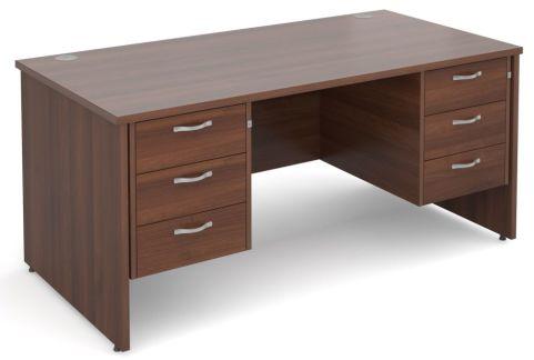 GM Panel Desk With Three Drawer Pedestals Walnut