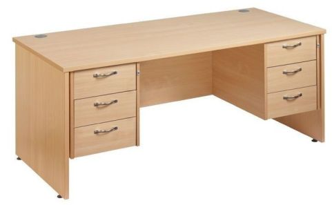 GM Panel Desk With Three Drawer Pedestals
