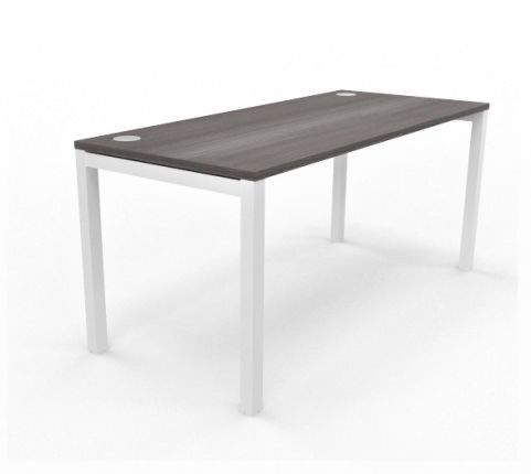 Buro Express Straight Desk White Leg Havana Top 700mm Deep1234