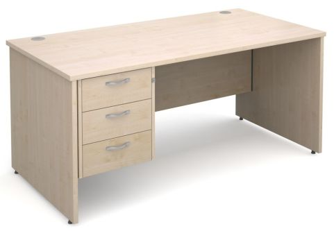 Gm Panel Desk With Three Drawers Maple