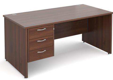 Gm Panel Desk With Three Drawers Walnut