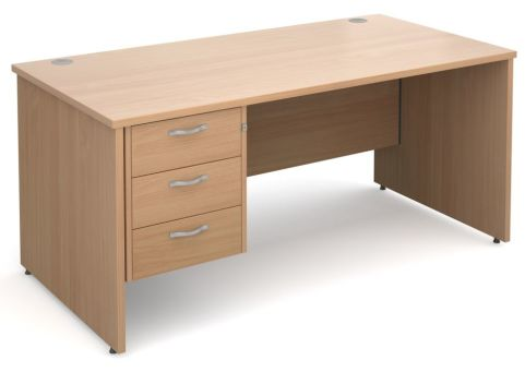 Gm Panel Desk With Three Drawers Beech