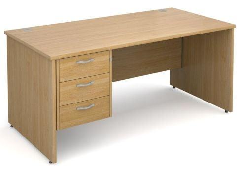 Gm Panel Desk With Three Drawers Oak