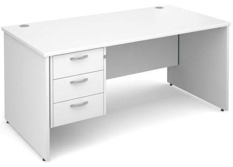 Gm Panel Desk With Three Drawers White