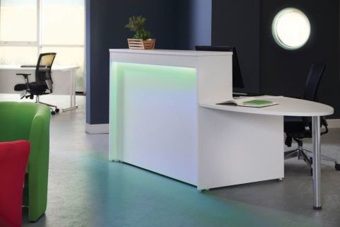 MG Reception Desk With Green Lighting And Extension