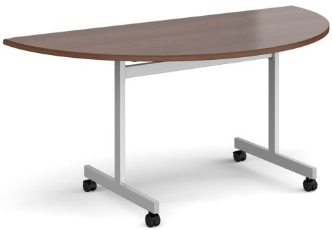 Gm Half Moon Flip Top Table Walnut