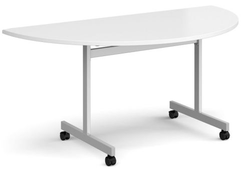 Gm Half Moon Flip Top Table White