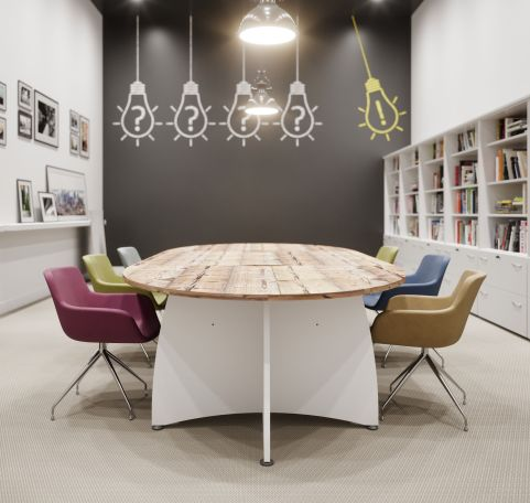 Elancia Boardroom Table White Base Timber Top