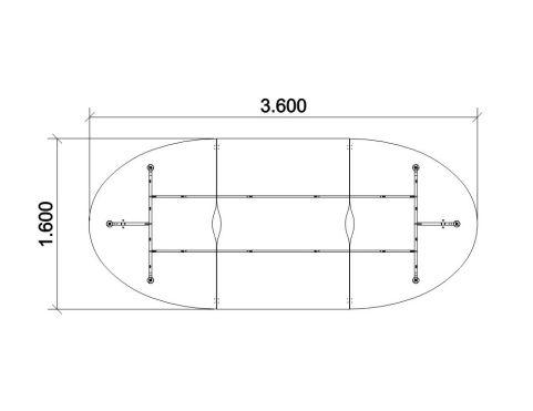 Dimension Elancia Tabel 3600mm X 1600mm