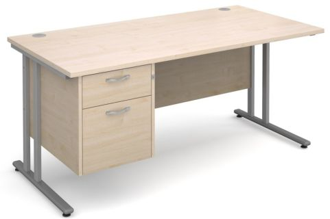 Gm Cantilever Desk Two Drawer Pedestal Maple And Silver
