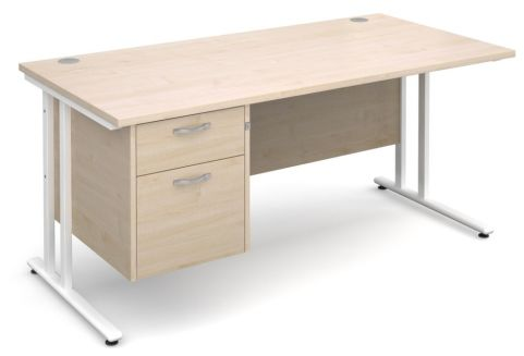 Gm Cantilever Desk Two Drawer Pedestal Maple And White