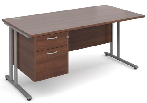 Gm Cantilever Desk Two Drawer Pedestal Walnut And Silver