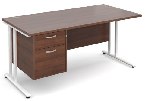 Gm Cantilever Desk Two Drawer Pedestal Walnut And White