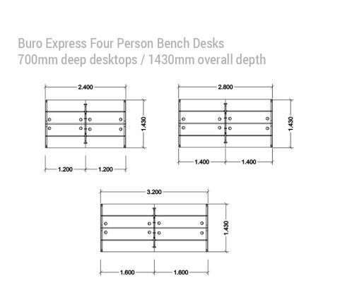 Buro Express Four Person Bench Desks 1430mm Deep