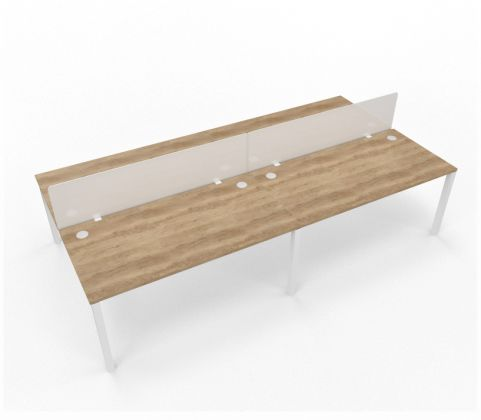 4 Person Desk With Acrylic Screens Screens Buro Light MFC