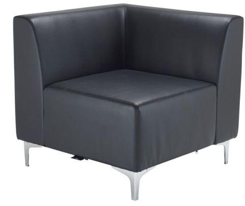 Tripal Black Leather Modular Seating Chair Corner Unit
