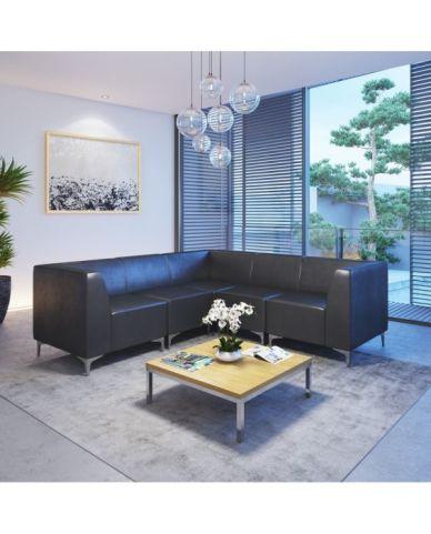 Tripal Black Leather Modular Seating Chair Mood View