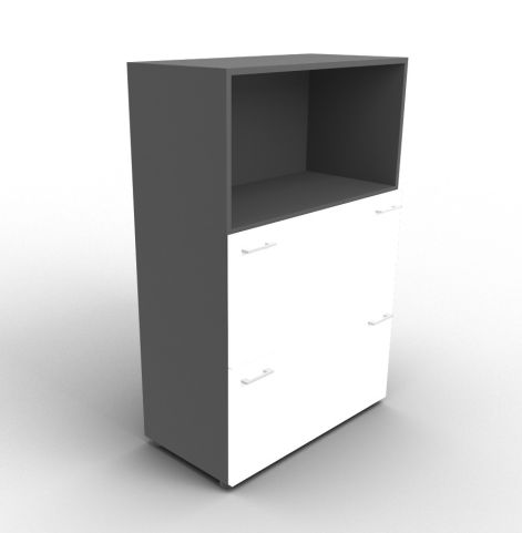 Quad 1310m Anthracite And White Bookcase With File Drawers