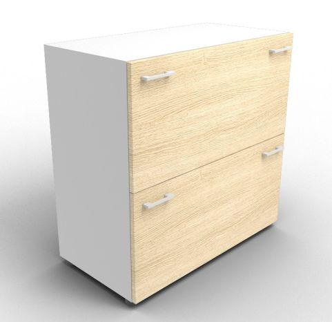 Quad Aluminium And Oak File Cabinet Without Lock