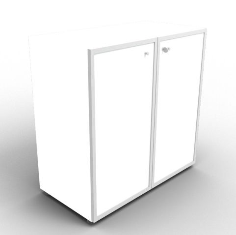 Quad White Glass Cabinet With Frosted Glass Doors