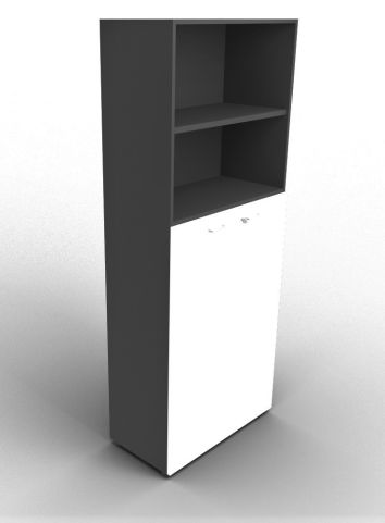 Quad 2140mm Bookcase With Medium Doors Anthracite And White