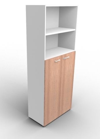 Quad 2140mm Bookcase With Medium Doors Aluminium And Walnut