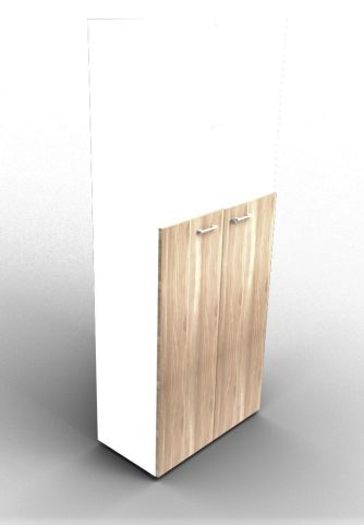 Quad 2140mm Bookcase With Medium Doors White And Elm