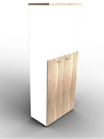 Quad 2140mm Bookcase With Medium Doors White And Elm With Finishing Top