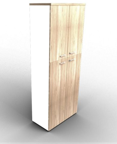 Quad 2140mm Bookcase With Medium And Medium Doors White And Elm With Finishing Top