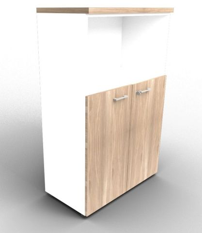 Quad White And Elm Bookcase Cabinet With Finishing Top