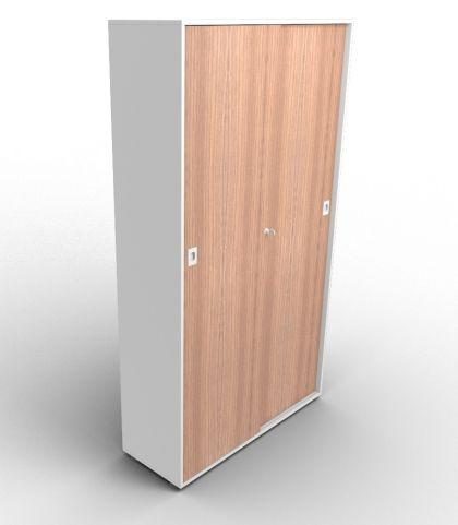 Quad 2140mm Sliding Door Cabinet Grey And Walnut
