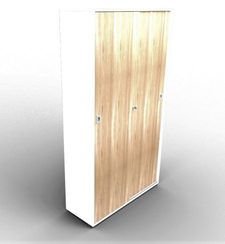 Quad 2140mm Sliding Door Cabinet White And Elm