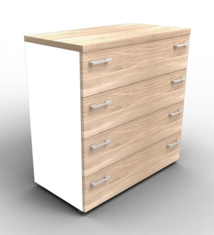 Quad White And Elm Drawer Cabinet Without Lock With Finishing Top