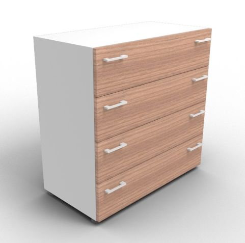 Quad Aluminium And Walnut Drawer Cabinet Without Lock
