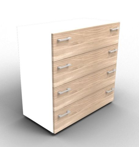 Quad White And Elm Drawer Cabinet Without Lock