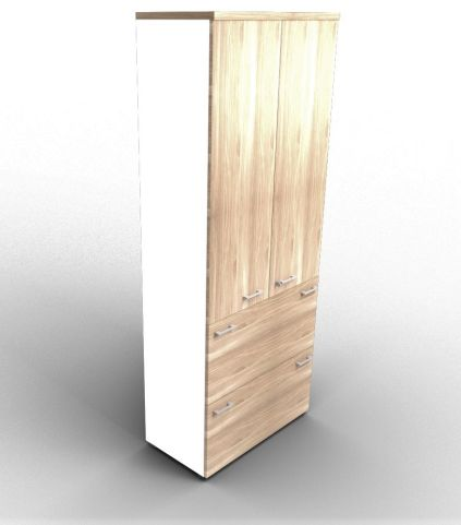 Quad Bookcase With Two Filing Drawers Cupboard White And Elm With Finishing Top