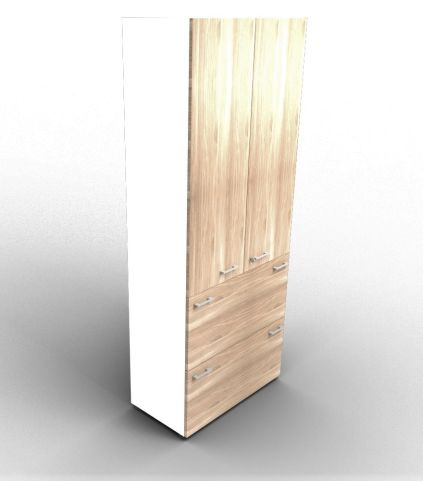 Quad Bookcase With Two Filing Drawers Cupboard White And Elm