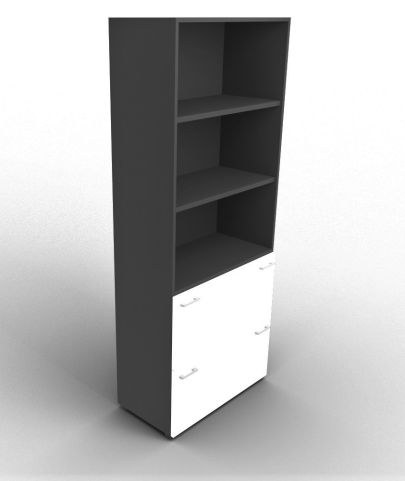 Quad Bookcase With Two Filing Drawers Anthracite And White
