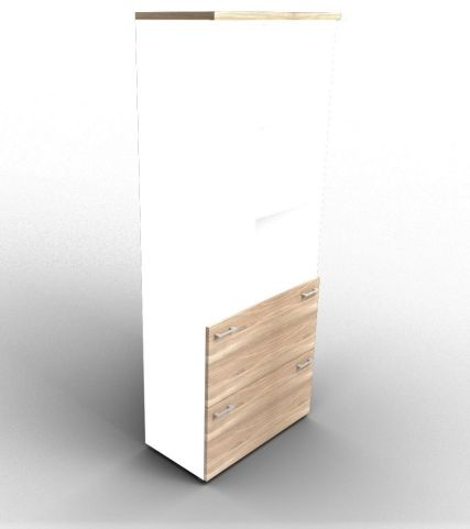 Quad Bookcase With Two Filing Drawers White And Elm With Finishing Top