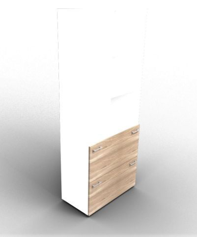 Quad Bookcase With Two Filing Drawers White And Elm