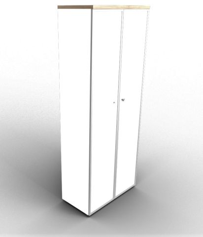 Quad 2140mm White Glass Cabinet With Frosted Glass Doors With Finishing Top