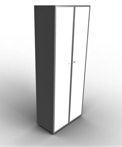 Quad 2140mm Anthracite Glass Cabinet With Frosted Glass Doors With Chrome Framing