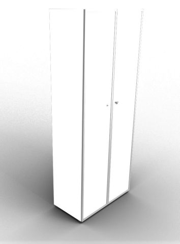Quad 2140mm White Glass Cabinet With Frosted Glass Doors