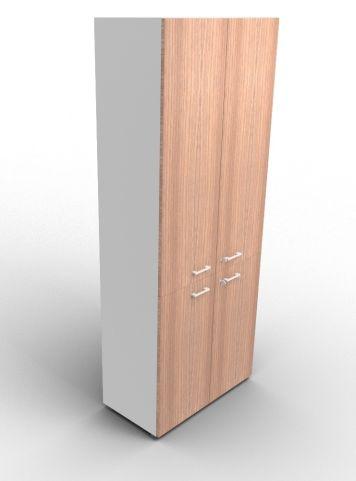 Quad 2140mm Bookcase With Medium And Low Doors Aluminium And Walnut