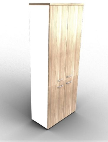 Quad 2140mm Bookcase With Medium And Low Doors White And Elm With Finishing Top