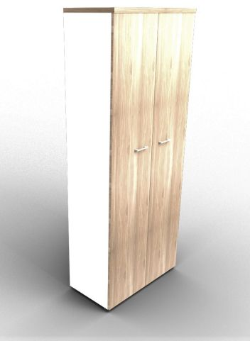 Quad 2140mm Bookcase With High Doors White And Elm With Finishing Top