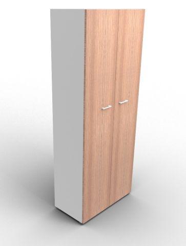 Quad 2140mm Bookcase With High Doors Aluminium And Walnut