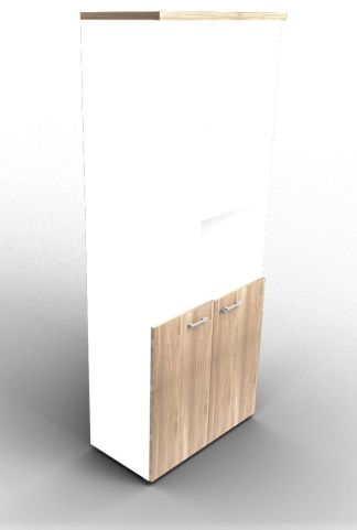 Quad 2140mm Bookcase With Low Doors White And Elm With Finishing Top