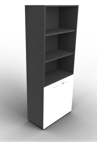 Quad 2140mm Bookcase With Low Doors Anthracite And White